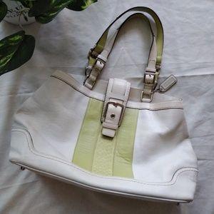 Coach purse , green and white.